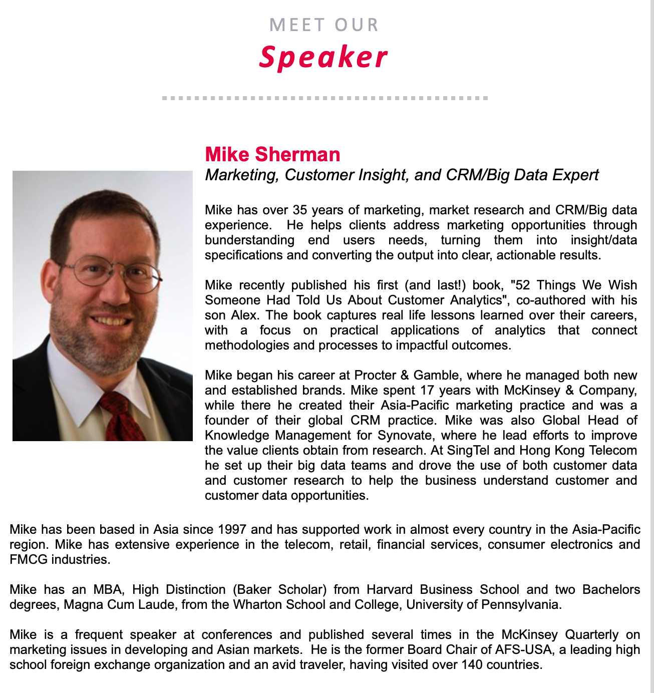 Meet our speaker - Mike Sherman